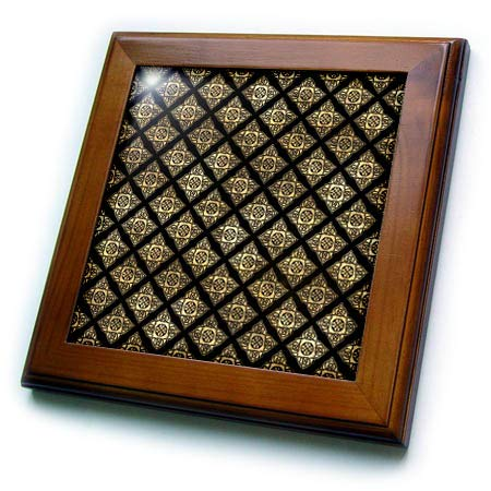 3dRose Contemporary Black and Image of Gold Celtic Star Knots Pattern - Framed Tiles (ft_342854_1)
