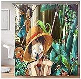 Schicke Stoff Duschvorhang Anime One Piece Junger AFFE D. Ruffy Sabo Portgas · D · Ace Duschvorhang für Studentenwohnheim Badezimmer 72x72inch