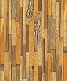 (Marrón, Paquete de 1) Papel tapiz de mural autoadhesivo con veta de madera reciclada y rústica 50cm X 3M (19,6' X 118'), 0,15mm Para revestimiento de restauración de muebles, sala de estar