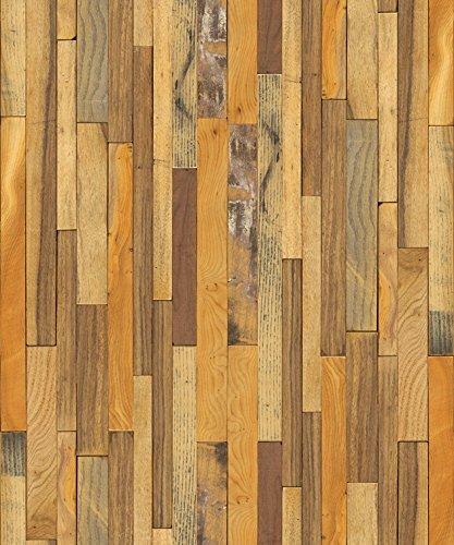 """(Marrón, Paquete de 1) Papel tapiz de mural autoadhesivo con veta de madera reciclada y rústica 50cm X 3M (19,6"""" X 118""""), 0,15mm Para revestimiento de restauración de muebles, sala de estar"""