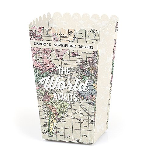 Big Dot of Happiness Personalized World Awaits - Custom Travel Themed Party Favor Popcorn Treat Boxes - Set of 12- Custom Text