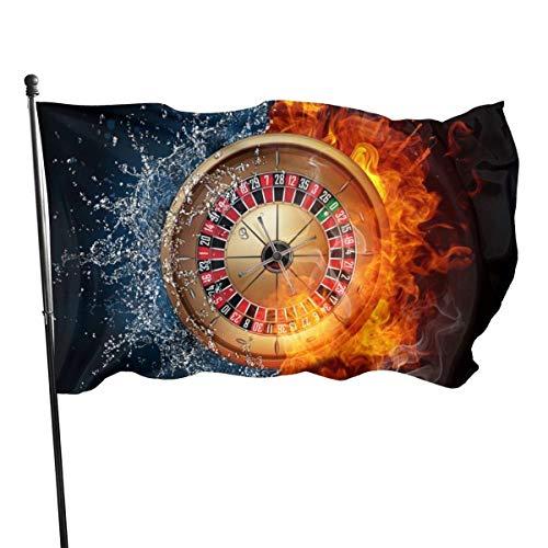 AOOEDM Bandera de jardín Ruleta de casino Decoración de patio al aire libre Banderas del hogar Bandera de césped de pared Decoración de poliéster 3 'X 5'