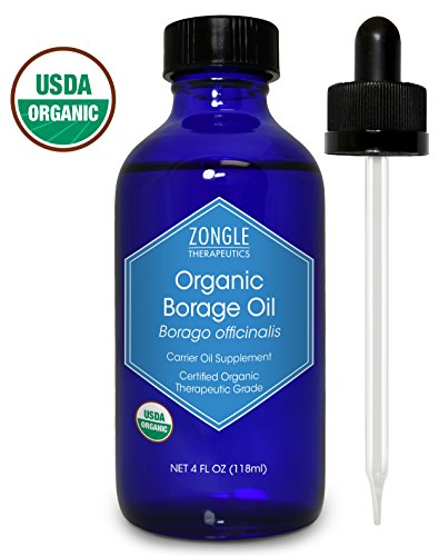 Zongle USDA Certified Organic Borage Oil, 18% GLA, Safe to Ingest, Cold Pressed, Borago Officinalis, 4 oz