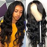Perruque Femme Naturelle Malaisienne Lace Front Cheveux Humains Body Wave Ondule...