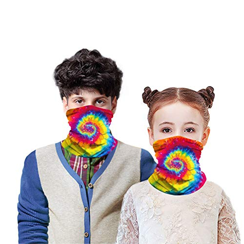 Kid UPF 50+ UV Protection Neck Gaiter Face Mask,Youth Summer Cooling Tube Face Cover Bandana Reusable (Pure Color Assorted 4 Pack)