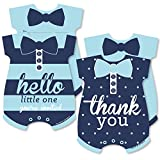Hello Little One - Blue and Navy - 20 Shaped Fill-In Invitations and 20 Shaped Thank You Cards Kit - Boy Baby Shower Stationery Kit - 40 Pack