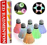 6-Pack Badminton Birdie LED Badminton Shuttlecocks, Goose Feather Fluorescent Lighting, Dark Night Outdoor Indoor Sport Activities Toys