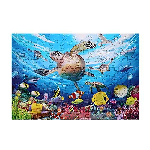 Draulic Kinder-Puzzles 100 Stück Unterwasser-Welt-Puzzle - Lernspielzeuggeschenk für Kinder von 4 bis 8 Jahren