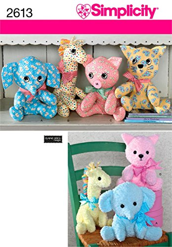 Simplicity 2613 Cute Stuffed Animal Sewing Pattern for Children and Toddlers by Elaine Heigl Designs, One Size