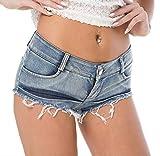 Pantalones Cortos Sexy Mujer Mini Shorts Jeans de Cintura Baja Playa Verano, Tamaño M Ref SJ6-4