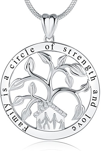 Ado Glo Christmas Birthday Gift Ideas, Family is a Circle of Strength and Love Tree of Life Pendant Necklace, Women Girls Fashion Jewelry, Anniversary Xmas Present to Daughter, Sister, Mom, Grandma