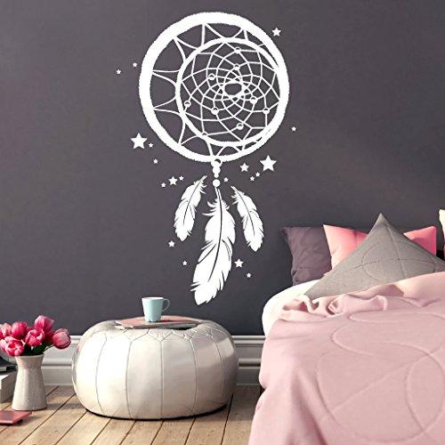 """Wandtattoo-Loft® """"Traumfänger mit kleinen Sternen/Wandtattoo/Wandaufkleber / 54 Farben / 3 Größen/weiß / 57 cm hoch x 35 cm breit"""