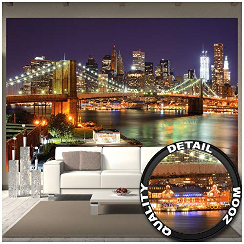 Great Art New York - muurschildering decoratie Brooklyn Bridge 's nachts oplichtende wolkenkrabber Skyline Wall Street USA deco fotobehang wandbehang fotoposter wanddecoratie