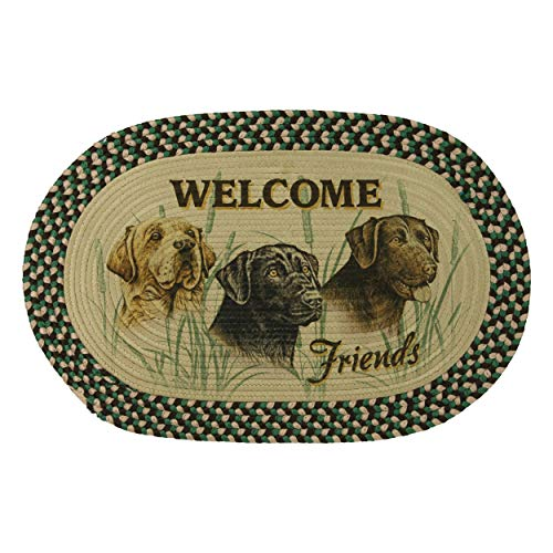 River's Edge Products Labrador Braided Rug, 26 Inch Oval Indoor Area Rug, Cabin Decor