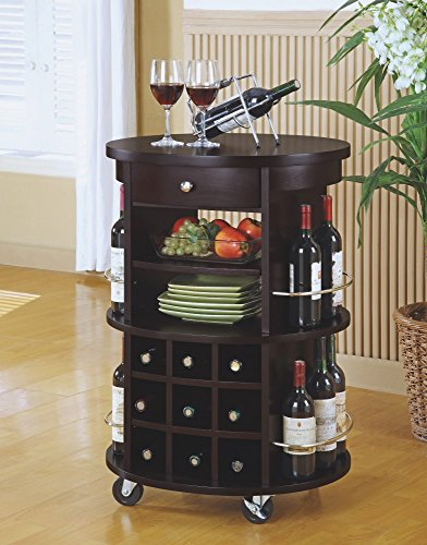 Hot Sale Monarch Specialties Round Bar Serving Cart with Wine Storage, Cappuccino