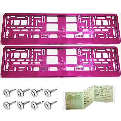 X 2 support de voiture universel support de plaque dimmatriculation eRUSTAR rose kennzeichenhalterung 520 x 110 mm de la marque uTSCH
