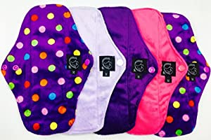 "Regular Flow 5 Packs, Plain or Patterned, Cloth Sanitary Pads (CSP), 25cm long x 9cm wide (9.75"" L x 3.5"" W) Bamboo CHARCOAL, Minkee / MINKY, Washable Reusable Period Protection, Menstrual Products, Mama Towel, Sanitary Napkins - Kernow Kloth"