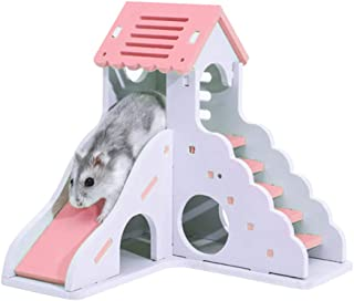 FlusRap Pet House, Mini Hamster House, Animal Toys,Mini Hamster House Wooden Eco-Friendly Washable Easy to Assemble Pets House.