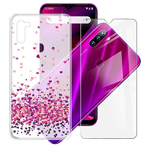 """HHUAN Case + Tempered Glass Film, for BLU G90 (6.5"""") Screen Protector and Semi-Transparent Soft Silicone TPU Shell Bumper Protective Case Cover - WM85"""