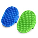 2 Pack Dog Grooming Brush, Premium Pet Bath Brush, Soothing Massage Rubber Comb, Adjustable Ring Handle, Suitable for Long Short Haired Pet.
