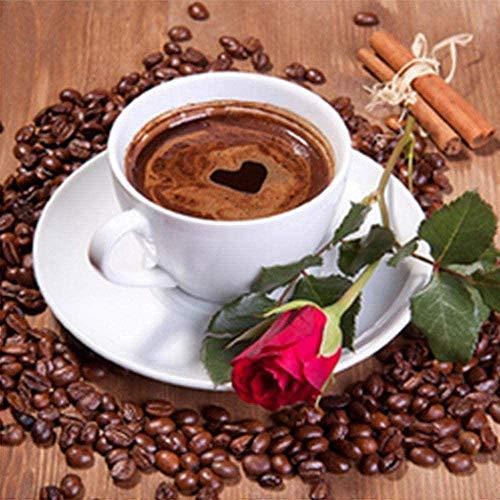 REXIAN Coffee Rose Red 11CT DIY Kit de Bordado de Punto de Cruz preimpreso para Sala de Estar para Adultos Dormitorio Principiante Decoración de Punto de Cruz 16x20 Pulgadas