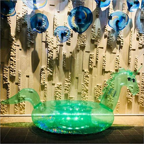 DDMM 2PCS Piscina Inflable Flotador Piscina Gigante Inflable Transparente Unicornio Flotador Juguete Anillo De Natación Verano Anillo De Natación Balsa -Adultura Flotante Green- 255 * 115 * 108cm