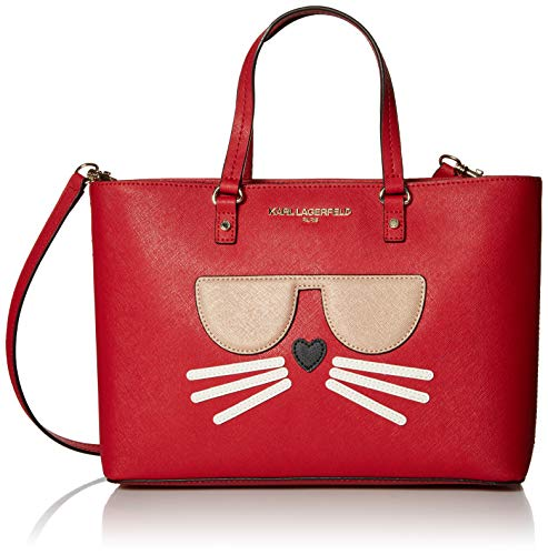 Karl Lagerfeld Paris Damen Tote Maybelle, Mini-Handtasche, Crimson Choupette, Einheitsgröße