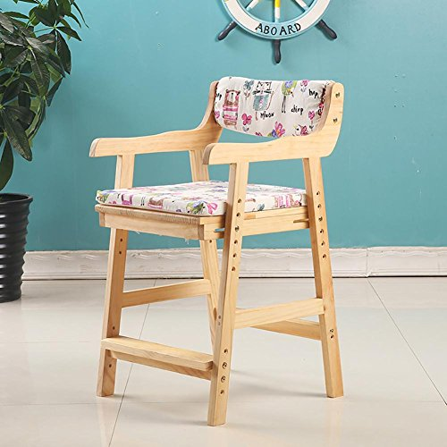 Price comparison product image GANJINM Simple and Modern Children's Chair Armchair Desk Chair Solid Wood Pine Wood Adjustable Chair Lift Study Chair Household Computer Chair Dining Chair Armchair Small Stool,  Wood Color