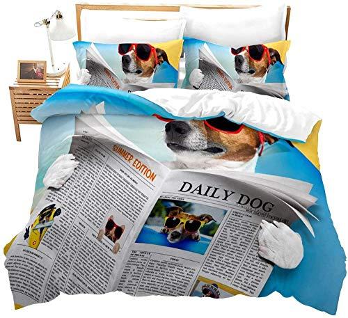 dsgsd Juego de Funda nórdica 3D de 3 Piezas Periódico Azul Perro Animal Gafas de Sol 260x240cm Ropa de Cama 3D Funda nórdica King Grande para niños Adultos niños Ropa de Cama Familiar 3 Piezas