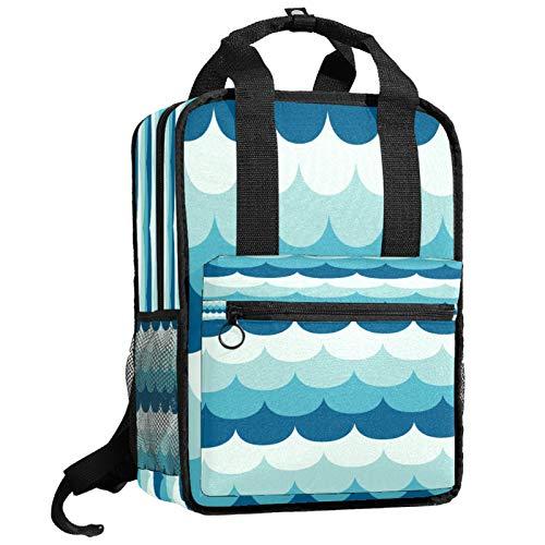 Mochila escolar de viaje bolsa de trabajo para mujeres y hombres estudiantes universitarios azul conjunto curvas