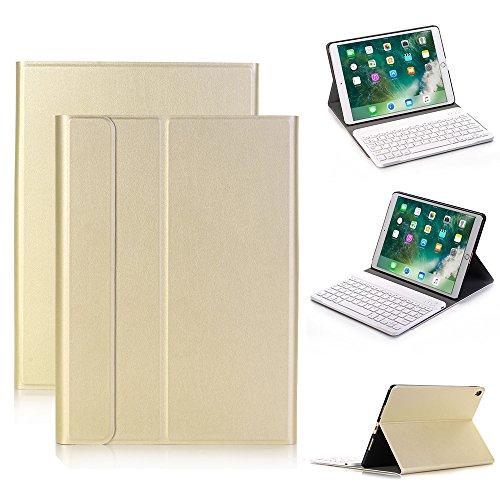 iPad Pro 10,5Teclado Funda de Piel, genjia Elegante Piel Smart Cover Auto Sleep/Wake & Ultra Slim Abs Teclado inalámbrico Bluetooth Desmontable para Apple 2017Nueva iPad Pro 10,5 Dorado