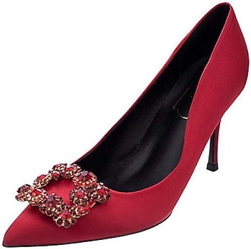Weier. Ben Chaussures à Talons Talons Talons Aiguilles en Satin pour Femmes, Rouge Bleu Rose@Rouge_US8   EU39   UK6   CN39 18c