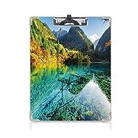 個性的 キングジム:クリップボード カラー A4判タテ型 自然 アイデア多機能メニュー 牧歌的なマウンテンクリーククリスタル水森林田園風景青緑シダ緑マリーゴールド