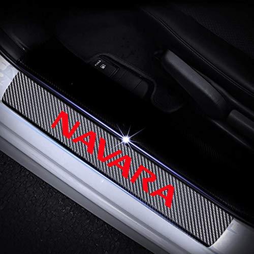 4pcs for Nissan Navara Todos los modelos de fibra de carbono de piel de puerta de coche del travesaño de la placa del desgaste, protector Kick Pedal Umbral Bar Etiqueta Decoración Styling accesorios H