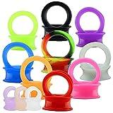 ZeSen Jewelry 12 Pares Oídos Delgados Flexibles de Silicona Dilatación Oreja 4-25mm Expansores de Túnel Silicona para Hombre Mujer (Gauge=0g(8mm))