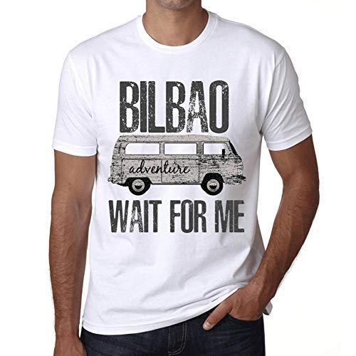Hombre Camiseta Vintage T-Shirt Gráfico Bilbao Wait For Me Blanco