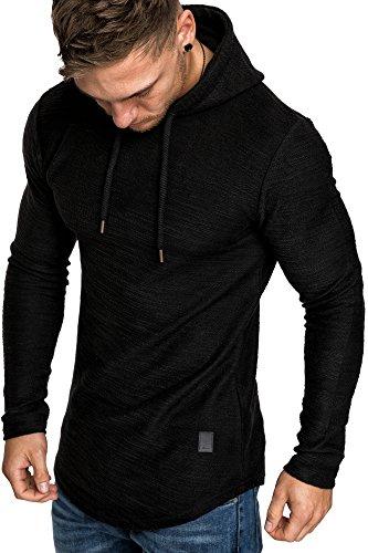 Amaci&Sons Herren Oversize Kapuzenpullover Hoodie Sweater Pullover Sweatshirt 4011 Schwarz L
