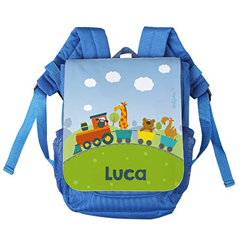 Striefchen® Kinder-Rucksack mit Namen - tierische Eisenbahn - ideal für den Kindergarten