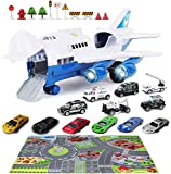 Hoiidel 12 Cars Toys with Transport Cargo Airplane and Play Mat, Educational Vehicle Police Cars with Music & Lights, Gifts for 3 4 5 6 - 12 Years Old Kids Toddler Children Boys Girls