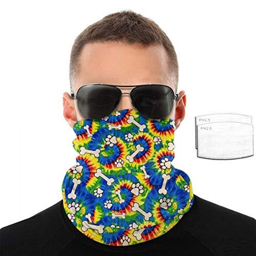 Fashion Face Tie Dye Paws Bones Buntes Stirnband Bandana Kopfbedeckung Hals Gaiter Schal Gr. Mit 2 Filter, Schwarz