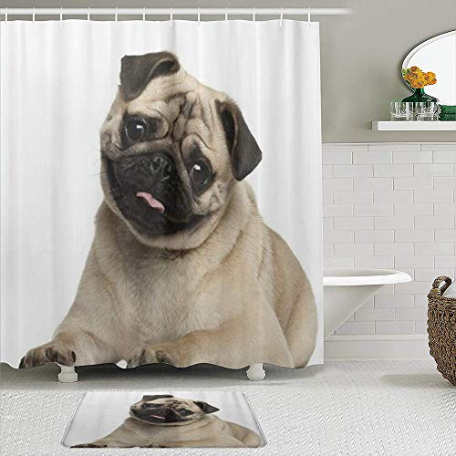 VAMIX Shower Curtain Sets with Non-Slip Rugs,Pug Puppy Lying Around Cute Pet Funny Animal Domestication,Waterproof Bath Curtains Hooks and Bath Mat Rug Included