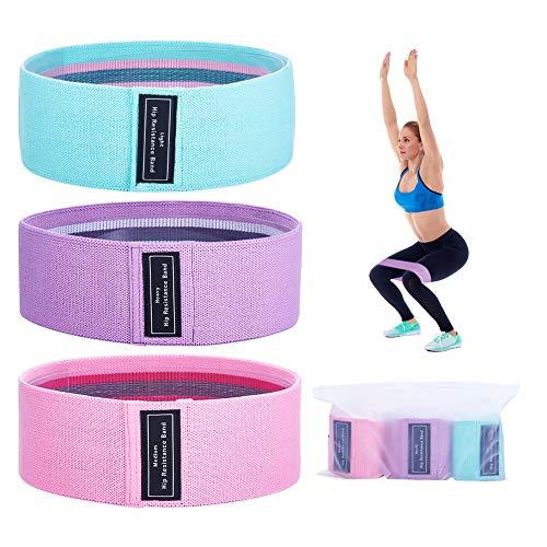 エクササイズバンド 抵抗帯 トレーニングベルト 張力帯 筋トレ 強度別3本セット 美尻 ヨガ 収納袋を付き (緑-ピンク-紫)