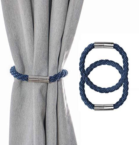 MAIKEHOME - 2 fermatende magnetiche da 21,7 cm, fermatenda, fermatenda, fermatenda per finestre Blu Navy