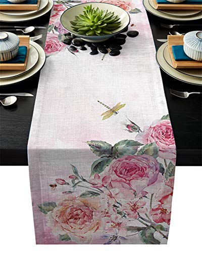 Table Runner Linen Burlap Table Runners Mat Spring Pink Flower Dragonfly Kitchen for Dinner Home Party Wedding Decor Tablecloths (Size : 36x183cm)