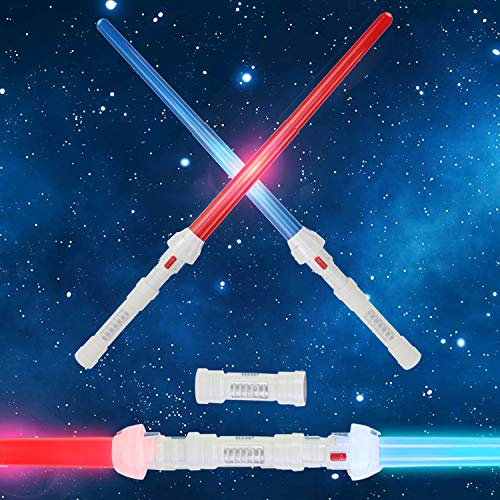 Liberty Imports 2-in-1 LED Light Up Expandable Swords Set FX Double Bladed Dual Retractable Sabers with Motion Sensitive Sound Effects (2 Pack)