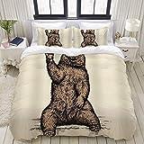 Funda nórdica, Funny Animal Bear Say Hello, Juego de Cama Ultra cómodo, Ligero y Lujoso, Juegos de Microfibra
