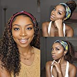 Allyreetress Deep Wave Curly Wig with Headband Attached Synthetic Brown Highlight Headband Wig for Black Women Glueless None Lace Front Wig 20 inches 150% Density(4/30)