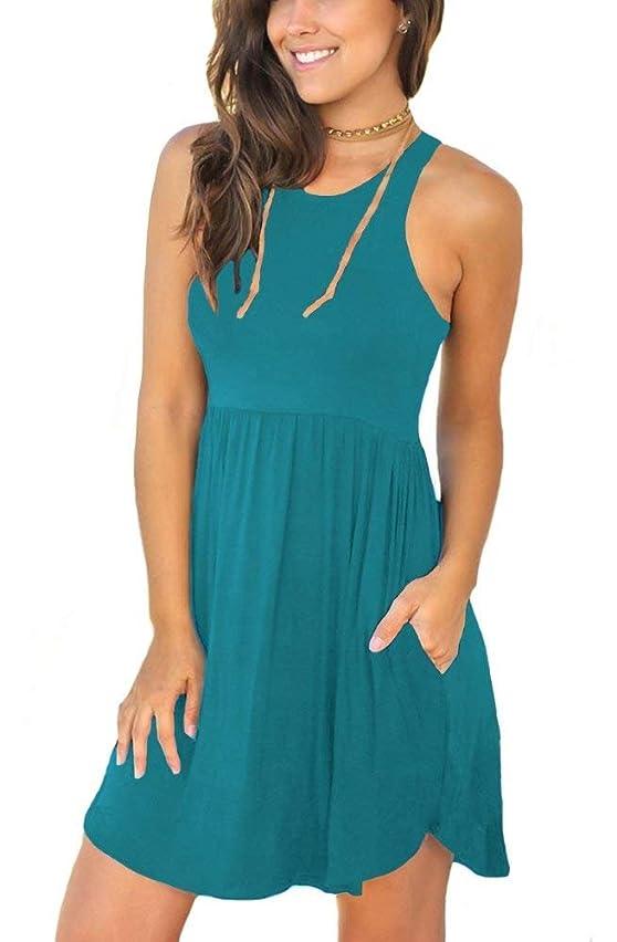 GOCHIC Women's Casual Sleeveless Loose Pleat Dresses Swing Short Dress with Pockets