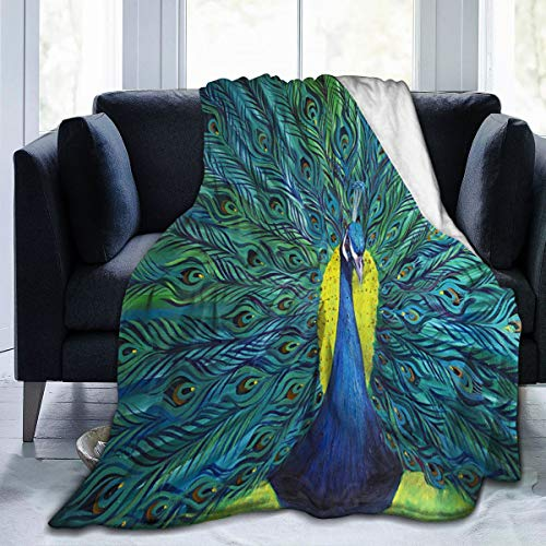 NIUJINMALI Timeless Treasures Peacock Feather On Jade Super Soft Plush Cozy Warm Flannel Throw Blanket All Season for Couch Bed Sofa Camping Kids Adultss 50 X40 Inch
