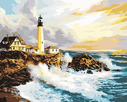 ZXDA Cuadro por números Casa de la Ciudad Junto al mar Pintura Arte Pintura por números Paisaje Kit de Pintura a Mano Lienzo A13 40x50cm